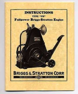 FH Briggs & Stratton Gas Engine Owners & Parts Manual Book Model FH