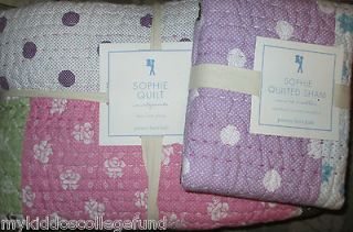 NWT Pottery Barn Kids Sophie twin quilt & sham pink purple blue brown