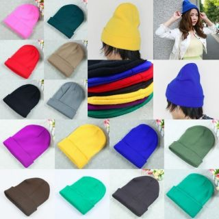 Colorful Unisex Solid Color Winter Warm Cuff Plain Knit Ski Beanie