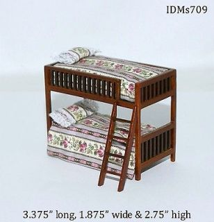BUNK BEDS W/BEDDING 1/24 HALF SCALE DOLLHOUSE MINIATURES Heirloom
