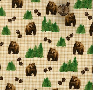 Brown Bear/Paw Prints/Trees on Tan/Brown/Whit e Gingham Flannel*