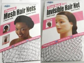 3PCS THIN FRENCH MESH HAIR NETS FISH COOKING CAP SNOODS