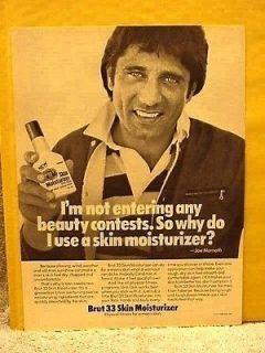 1977 Magazine Ad   JOE NAMATH (QB NY jets)   Brut 33 Skin Moisturizer