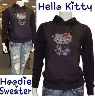 Cute Hello Kitty Sweater with Hoodie,Lot Studs,Elastic Waist Black
