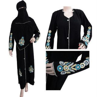 Black Zircon Abaya Muslim Women Dress Islamic Clothing Jilbab Hijab