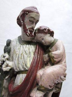 Lg Antique Religious Art Statue of St Joseph w Baby Jesus Catholic