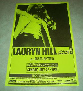 1999 LAURYN HILL / BUSTA RHYMES Concert Pole Poster   Shoreline