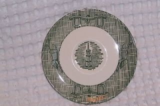 Scio Pottery Green & White Currier & Ives Butter Churn 6 Saucer