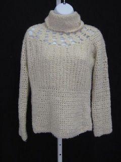 ZARA Beige Long Sleeve Crochet Turtle Neck Sweater Shirt Top Sz M