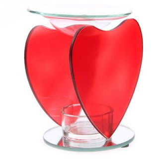 Red Heart Glass Oil or Ideal Yankee Candle Tart Burner Ornament