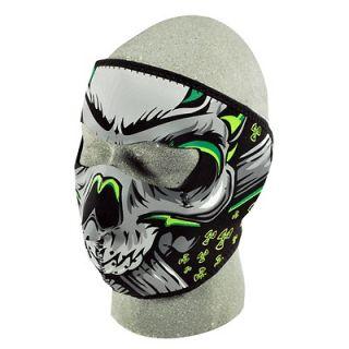 Threat Motorcycle Biker Ski Mobile Neoprene Face Mask   Neon Skull