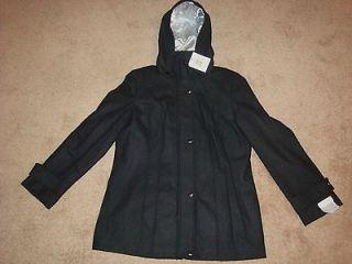 Calvin Klein Womens Wool Blend Winter Hooded Coat Jacket Charcoal SZ
