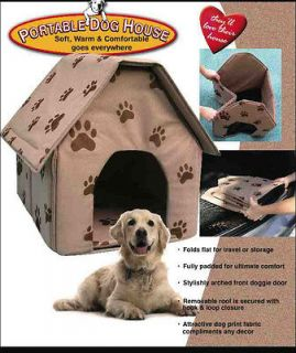 Portable Pet Dog House Fold Flat Travel Soft 17x16x17 Removable