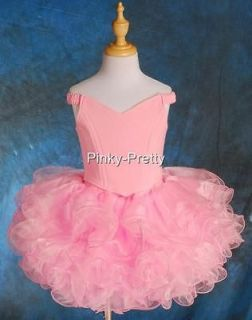 Girl Pink Cup Cake National Pageant Dress Off Shoulder DIY Shell Size