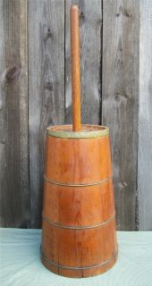 1900s Antique American Wood/Wooden Dash Butter Churn w/ Old Dasher