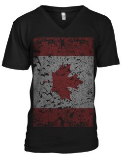 Giant Distressed Canadian Flag World Cup Soccer Olympics Mens V Neck T