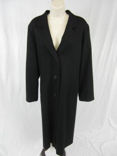 Elegant Fashions Merino Wool Trench Coat Black 2X
