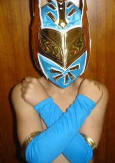 WWE SIN CARA CHILD WRESTLING REPLICA MASK FANCY DRESS UP COSTUME BLUE