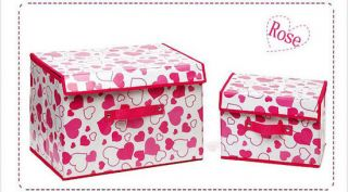 Love Pattern Portable Non woven Fabrics Organizer Storage Cabin Box