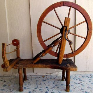 1800s Antique Folk Art Pine French Canadian Spinning Wheel Primitive
