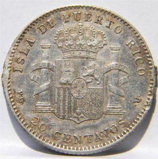 Spanish PUERTO RICO scarce 1895 PGV silver 20 Centavos 1 yr type; AU
