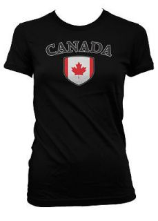 Canada Country Flag Shield Girls T Shirt Canadian Pride