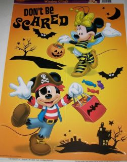Disney Mickey Mouse Halloween Window Cling Decoration Reusable Vinyl