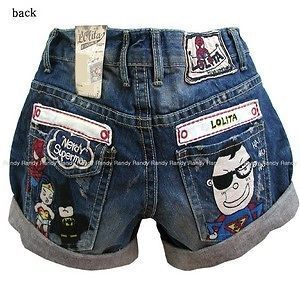 2FE2326 New Womens Fashion Juniors Super Man Denim Pants Short Jeans