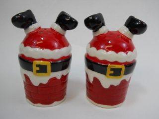 Cracker Barrel Mingle & Jingle Santa in Chimney Christmas Salt