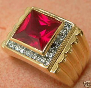 MENS lab created 9.1 carat Montana Ruby ring 18k yellow gold overlay