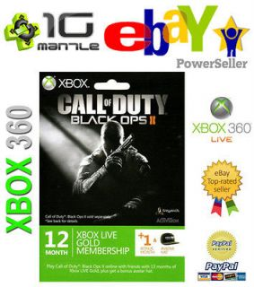 SUBSCRIPTION XBOX 360 LIVE 12+1 (13) MONTH GOLD + AVATAR COD BLACK OPS