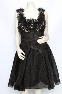 Carolina Herrera Black Corset Feathers Beaded Formal Gown Dress Sz 10