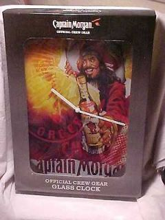 CAPTAIN MORGAN RUM W/CAPTAIN & GLASS BATTERY CLOCK SIGN