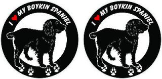 love my Boykin Spaniel dog ROUND bumper vinyl stickers decals 4 x 4