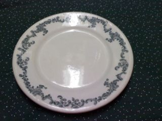 Greenwood China plate painted scroll pattern bluegreen used