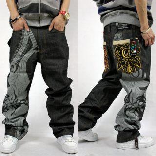 Stylish Hip Hop Scrawl Design Pants Dance Trousers Casual Pants Jeans