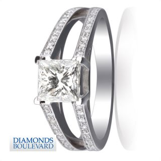 listed 3 CARAT PRINCESS REAL DIAMOND ENGAGEMENT RING 18K WHITE GOLD