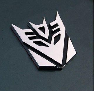Silver 3D Metallic Transformer Decepticon Auto Car 3M Sticker Decals