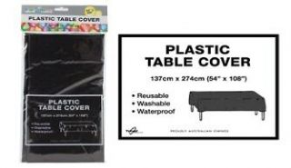 BLACK   Plastic Table Cloth 1.4x2.7m, great for partys, birthdays