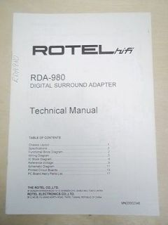 Rotel Service/Techni cal Manual~RDA 980 Digital Surround Adapter