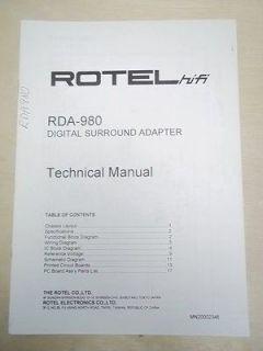 Rotel Service/Techni cal Manual~RDA 980 Digital Surround Adapter
