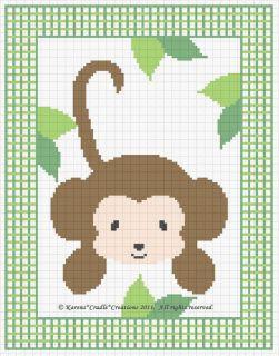 JUNGLE MONKEY Counted Cross Stitch Pattern Chart *EASY*
