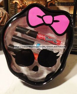 HIGH 4pc Shimmering Lipgloss + Zipper Skull Head Shaped Carrying Case