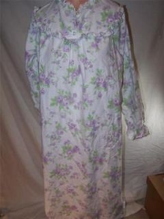 Night Gown Nightgown White Purple Lingerie Medium Cascade Blues Cotton