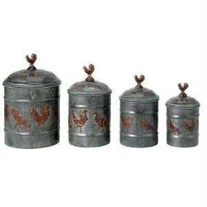 kitchen rooster canister set of 4 country style home kitchen