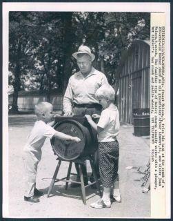 1963 Wisconsin Farm Little Kids Help Grandpa 100 year Old Butter Churn