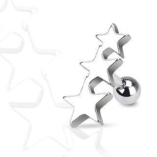 Surgical Steel Three Stars Tragus/Cartilage Piercing Stud   16GA   6MM