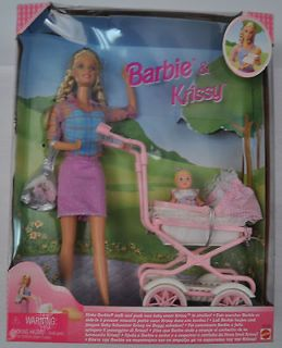 Walking Barbie & Baby Sister Krissy Carriage Mattel 1999 22232 NIB