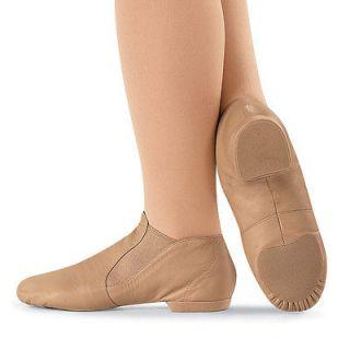 Capezio CG05 split sole slip on leather jazz dance shoe boot caramel