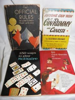 Vintage Softcover Books About Card Games   Rummy Canasta Solitaire